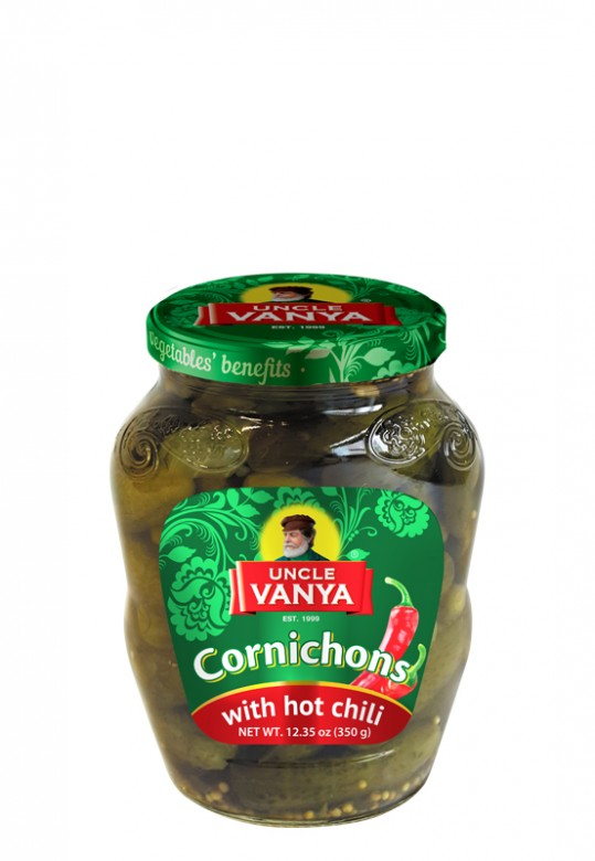Cornichons with hot chili 350 g jar