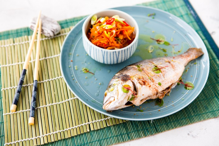 Steamed fish with ginger in Chinese style