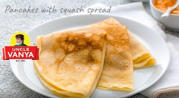 Pancakes with squash spread by Uncle Vanya